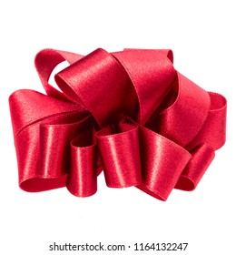 big round bow in red color isolated on white background close up