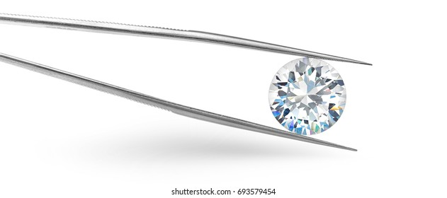 Big round diamond held in tweezers on white background
