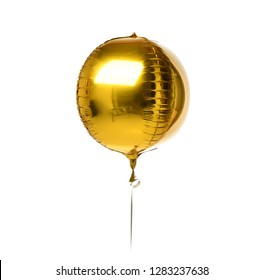 Big round gold metallic latex balloon for birthday party isolated on a white background