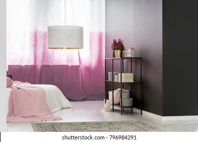 Big round lampshade hanging in cozy pink bedroom interior with books, boxes and potted plant on black metal rack