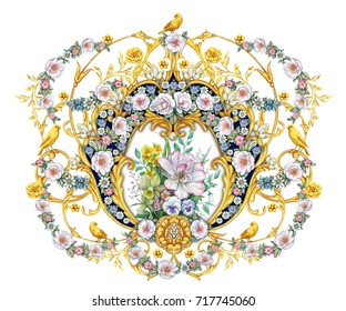 Big royal vignette with garlands of roses and birds