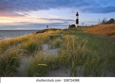 Big Sable Point Lighthouse. Image of the Big Sable Point Lighthouse and the Lake Michigan shoreline, Michigan, USA.