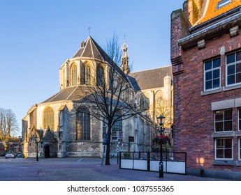Big Saint-Laurens church in the historic city centre of Alkmaar in  North-Holland in the Netherlands. Also known as the city of cheese.