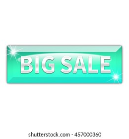 Big sale button isolated on white background. 3d render
