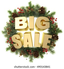 Big sale words with christmas wreath isolated on white 3d illustration.