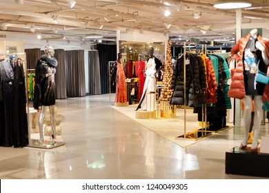 Big sales, Vienna boutique background. Christmas discounts. Blurred showcases fashion boutique fashionable clothes. Blurred bokeh basic background for design. - Image