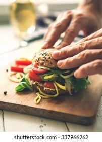 Big sandwich close up image