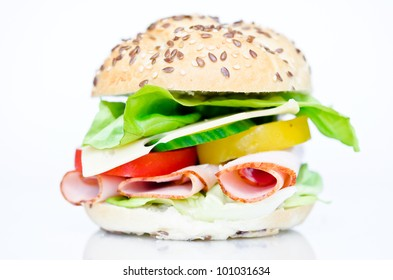 big sandwich with fresh vegetables