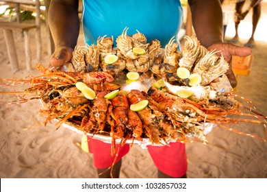 Big seafood plate served during a Blue Safari, Fumba area, Zanzibar, Tanzania.