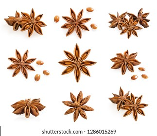 Big set of anise stars isolated on white with anise seed. Aniseed spice.