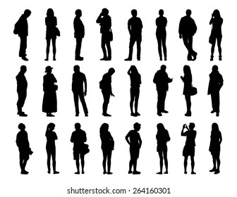 big set of black silhouettes of men and women of different ages standing in different postures, face, profile and back views