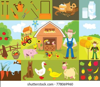 Big set of cartoon characters and elements of the farm. Buildings, people, livestock, animals, cars, trees, vegetables, fruits, inventory Isolated on white background