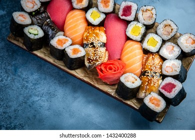 Big set of colorful sushi rolls