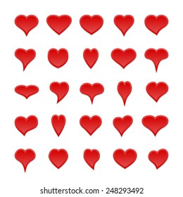 Big set of different isolated 3D red hearts. Elements for your design.
