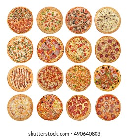 Big set of different pizzas:  Ham with mushrooms, Barbecue, Peperoni's, Mexican, Chicken, Meat, Italian, Florentina, Bonanza, Margarita, Marinera, Hawaiian, Isolated on white background