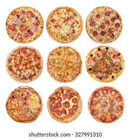 Big set of different pizzas: Pepperoni's, Hawaiian, Mexican, Meat, Italian, Florentina, Bonanza, Barbecue, Margarita  isolated on white background