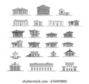 Big set of different urban architecture