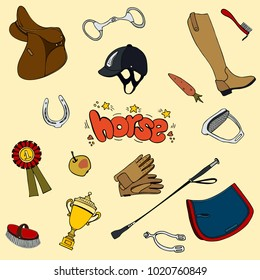 big set equestrian cute gloves boots riding saddle brush helmet whip cup  prize pad horseshoe handdrawn lettering horse hearts and stars
