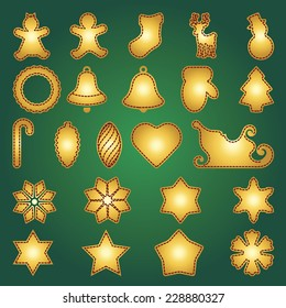 Big set of flat Christmas flat icons. New Year greeting card templates. Happy cookies holidays elements