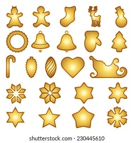 Big set of flat Christmas flat icons. New Year greeting card templates. Happy cookies holidays elements. Isolated on white