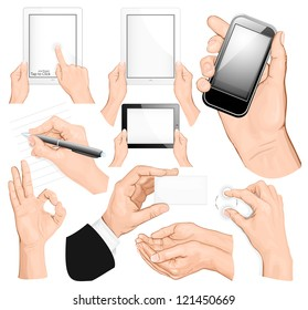 Big set of hands. Rasterized version of vector illustration ID: 113572591