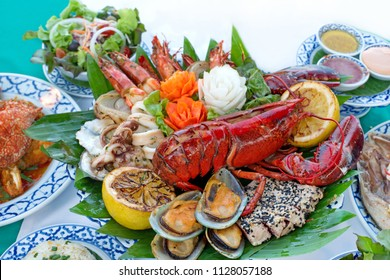 Big set of Lobster and a good deal of seafood grill special set look very delicious
