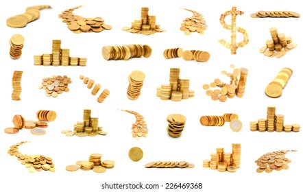 Big set of photos with coins. Gold coins on a white background.