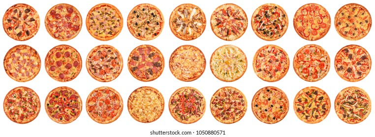 Big set of pizzas isolated on white background. Top view