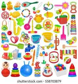 Big Set of plastic toys:buckets, tooth toys, rattles, pyramid, tumbler, kitchen ware, watering can. Plastic bright toy for the newborn isolated on white.