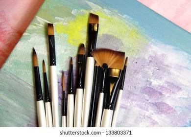 Big set of professional paintbrushes