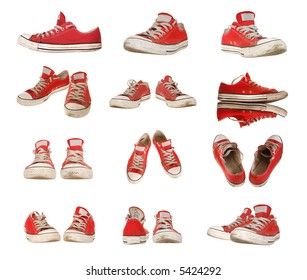 Big set of red sneakers isolated on pure white, size is 5085x4300