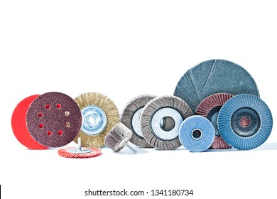 big set of rotary abrasive wheels construction tools isolated on white