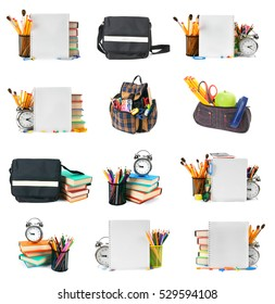 Big set of School tools. Isolated on white background.