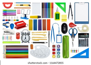 Big set of stationery: calculator, plasticine, scissors, alarm, pencil, paint, compasses, ruler. Isolated on white.