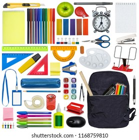 Big set of stationery and school bag. Isolated on white.