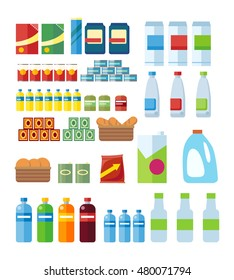 Big set of store products in plastic and aluminum cans. Canned goods and supplies, drinks and dairy products. Retail store icon set. Isolated object on white background.  illustration