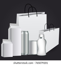 Big Set Of Transparent Empty Plastic Packaging isolated on dark gray background for your design.