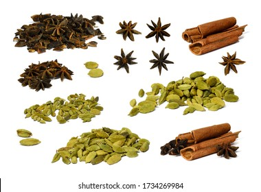 Big set of various spices isolated on a white background. Fruits of cardamom, star anise and cinnamon or cassia sticks. Image for packaging design of medicines, cosmetics. Ingredients for Mulled Wine.