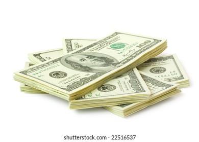 big sheaf of money isolated on white
