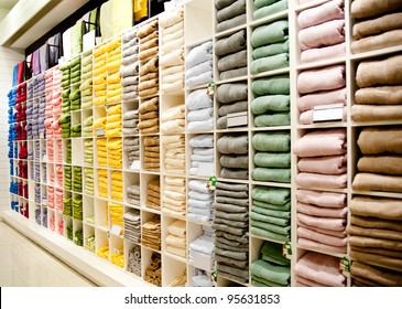Big shelf with a colorful towels