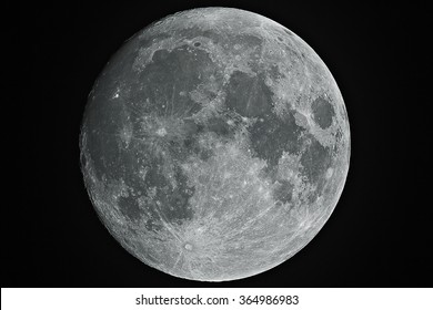 Big shining Moon in growing phase (waxing gibbous), with high details on his grey surface, all in a black background, taken with large newtonian telescope.