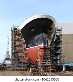 The big ship on the stocks in the shipyard