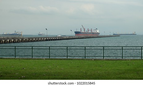 big ship at sea port