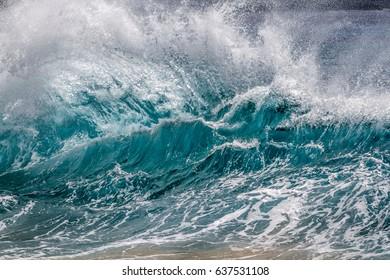 Big shore break splash up Ocean wave in Hawaii
