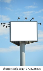 Big sign with blackboard for announcements, outdoor advertising billboard on blue sky
