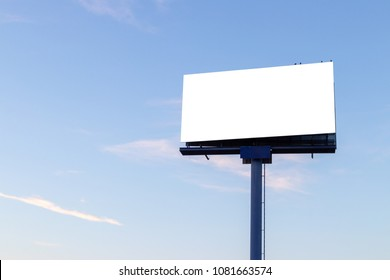 big sign with blue sky isolated on white