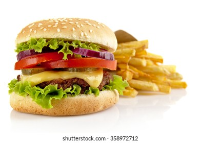 Big single cheeseburger with french fries isolated on white background