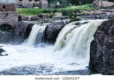 The Big Sioux River cascades over Sioux Falls at Falls Park in South Dakota