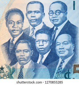 The Big Six portraits on Ghana 5 cedi (2015) banknote, Ghanaian money currency close up