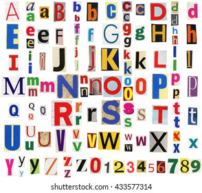 Big size collection of colorful newspapers, magazines letters isolated on a white background. Anonymous alphabet